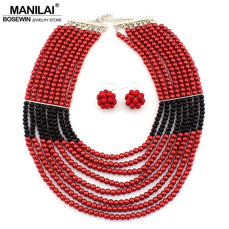 MANILAI African Jewelry Set Fashion Accessories Glass Beads Crystal Necklaces Matching Drop Earrings Jewelry Sets Women Wedding
