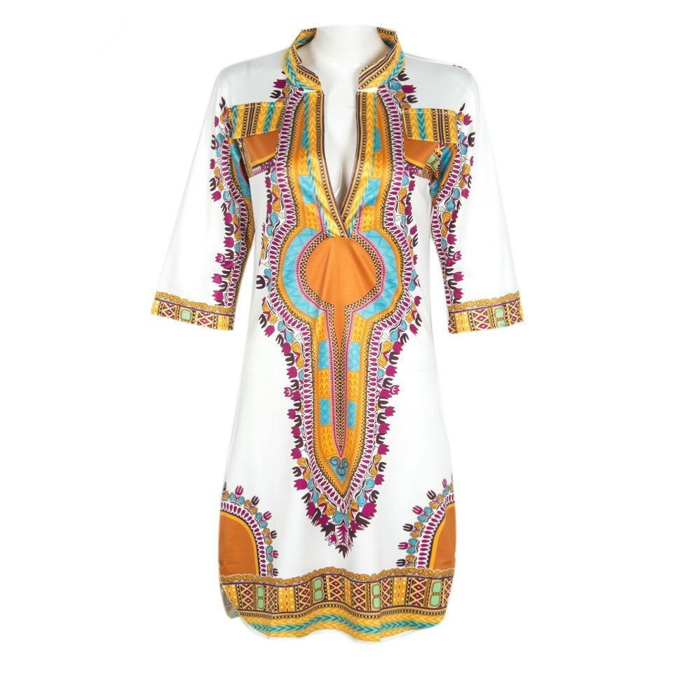 Women African Dashiki Succunct African Tranditional Print V Neck Dashiki Dress For lady Sexy Dashiki T-shirt Plus size 3XL 71301