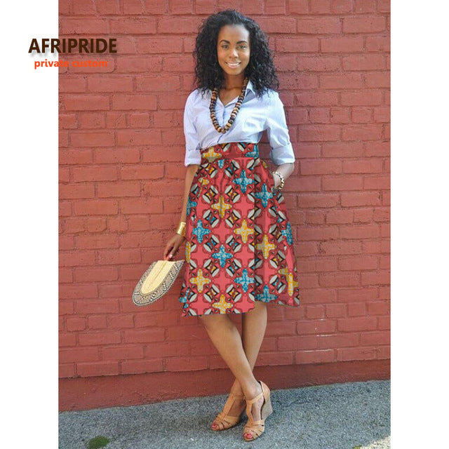 Tomi Knee Length African Print Skirt (pick your print) - African Fabric Co.