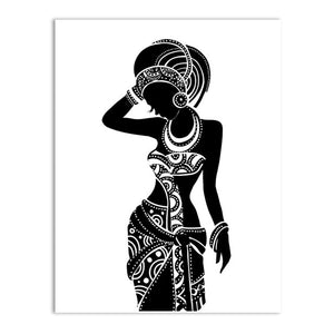 Beautiful Black Woman Canvas Art Print Poster, African Woman Art Canvas Painting Wall Pictures Home Decor - African Fabric Co.