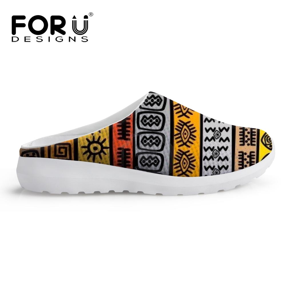 FORUDESIGNS Women Sandals African Traditional Printed Summer Shoes Ladies Beach Slip-on Platform Sandals Breathable Zapato Mujer
