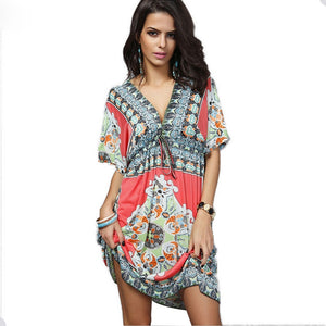 Africa Clothing Dashiki Robe Femme  Large Size Beach Dress Boho Vintage Print Traditional Women Dresses