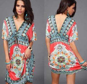KL259 Africa Clothing Dashiki Robe Femme 2018 Large Size Beach Dress Boho Vintage Print Traditional Women Dresses