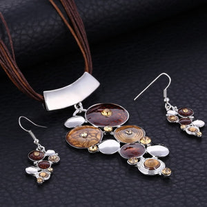ZOSHI Fashion African Jewelry Set Silver Wedding Jewelry Sets for Brides Party Rope Bridal Jewelry Sets Summer Boho Jewelry