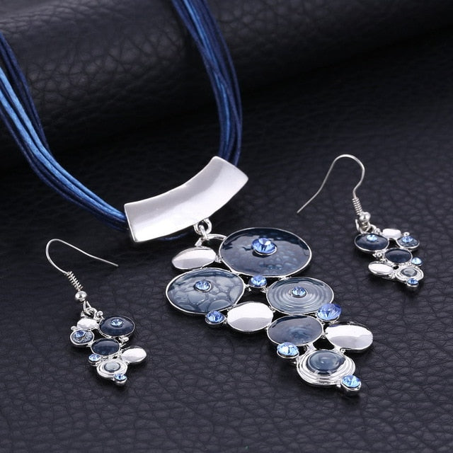 Fashion African Jewelry Set Silver Wedding Jewelry Sets for Brides Party Rope Bridal Jewelry Sets Summer Boho Jewelry