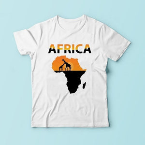 Impressions of African continent tshirt men  summer new white short sleeve casual