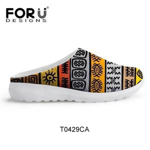 FORUDESIGNS African Traditional Printed Slipper Female Platform Sandals Shoes Woman Summer  Lightweight Mesh Ladies Shoes