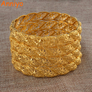 Anniyo 4Pieces/Lot, Ethiopian Gold Color Wedding Bangle for Women Dubai Bride Bracelet African Jewelry Middle East Items #088206