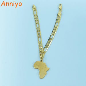 21cm Africa Map Bracelet Chain for Women Men Gold Color African Mens Unisex Jewelry