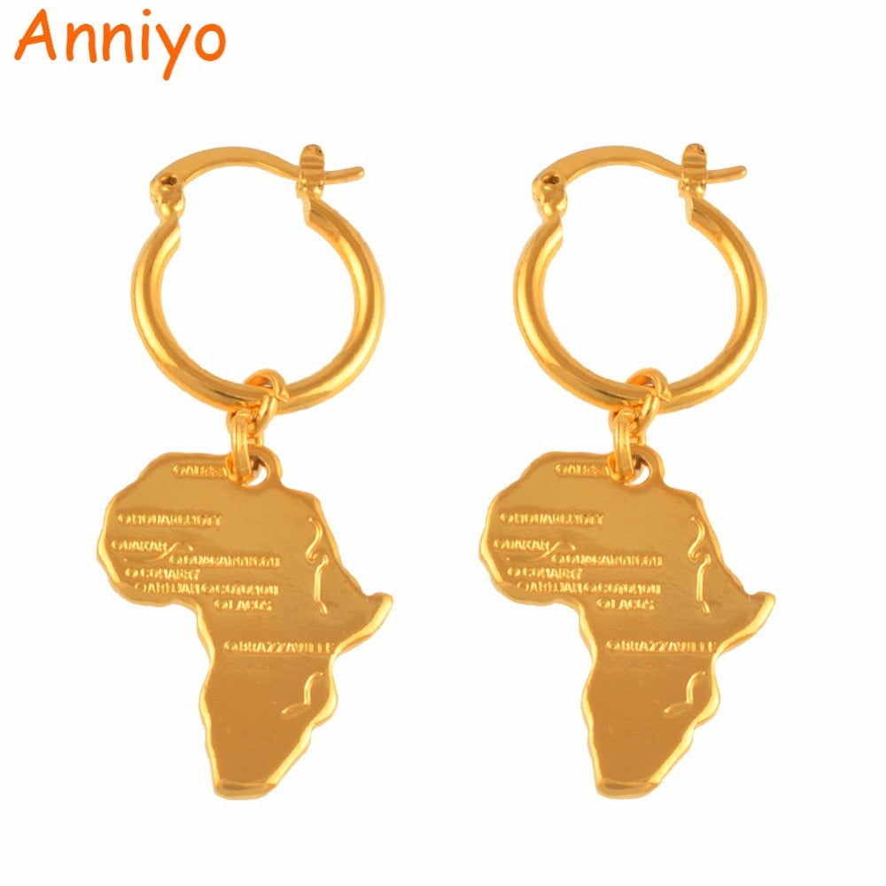 Map of Africa Earrings for Women Girl Ethiopian Nigeria Gold Color
