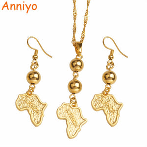 Africa Map Jewelry sets Bead Pendant & Earrings,Gold Color African Maps Necklaces Ethiopian/Nigeria/Sudan/Congo