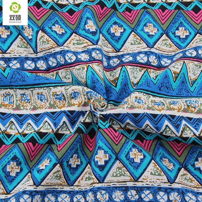 2015 New Blue Floral African Cotton Linen Fabric Meter DIY Handmade Textile Patchwork Fabric For Dress Bag  Curtain 50*150cm M49