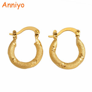 Anniyo Gold Color Small Earrings Stud for Women/Girls,Trendy Party Jewelry Arab African,South America Gift #008116