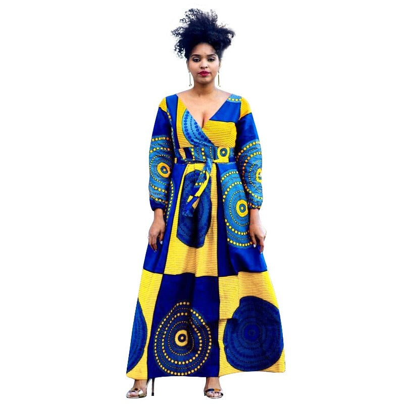 V-neck African Dresses For Women Clothing Dashiki Print Africa Maxi Dress Long Sleeve