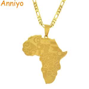 Map of Africa With Country Flags Map Pendant Necklaces for Men/Women
