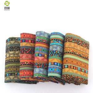 Shuanshuo  African Style  Cotton Linen vintage fabric DIY Handmade Textile Sewing Patchwork For Bags Dress Clothes 145*50CM M44