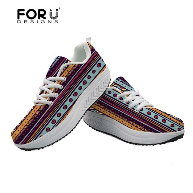 FORUDESIGNS African Retro Printing Women Swing Shoes Casual Sneakers Platform Slimming Ladies Shoes Height Increasing Flats