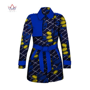 African ankara TrenchCoat Traditional Women Outwear Plus Size Africa Bazin Riche Dashiki Turn-down Collar Trenchcoat WY2037