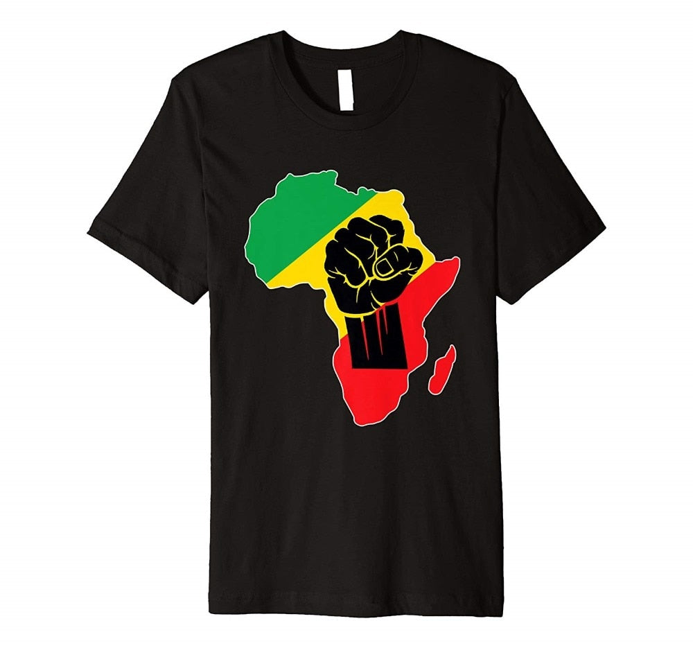 Africa Black Power Africa Map Fist African Pride 100% Cotton Summer Men Tops Tees Funny Print T Shirts