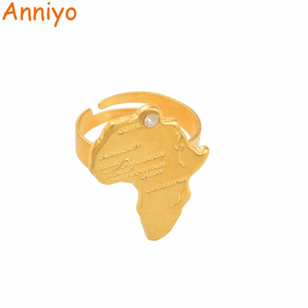 Ancient African Map Ring for Women Girls Gold Color Africa