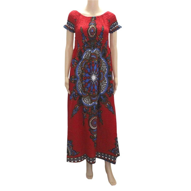 Dashikiage 100% Cotton Vintage Dashiki Long Dress Petal Sleeve Slash Neck African Print Maxi Dresses - two wearing styles