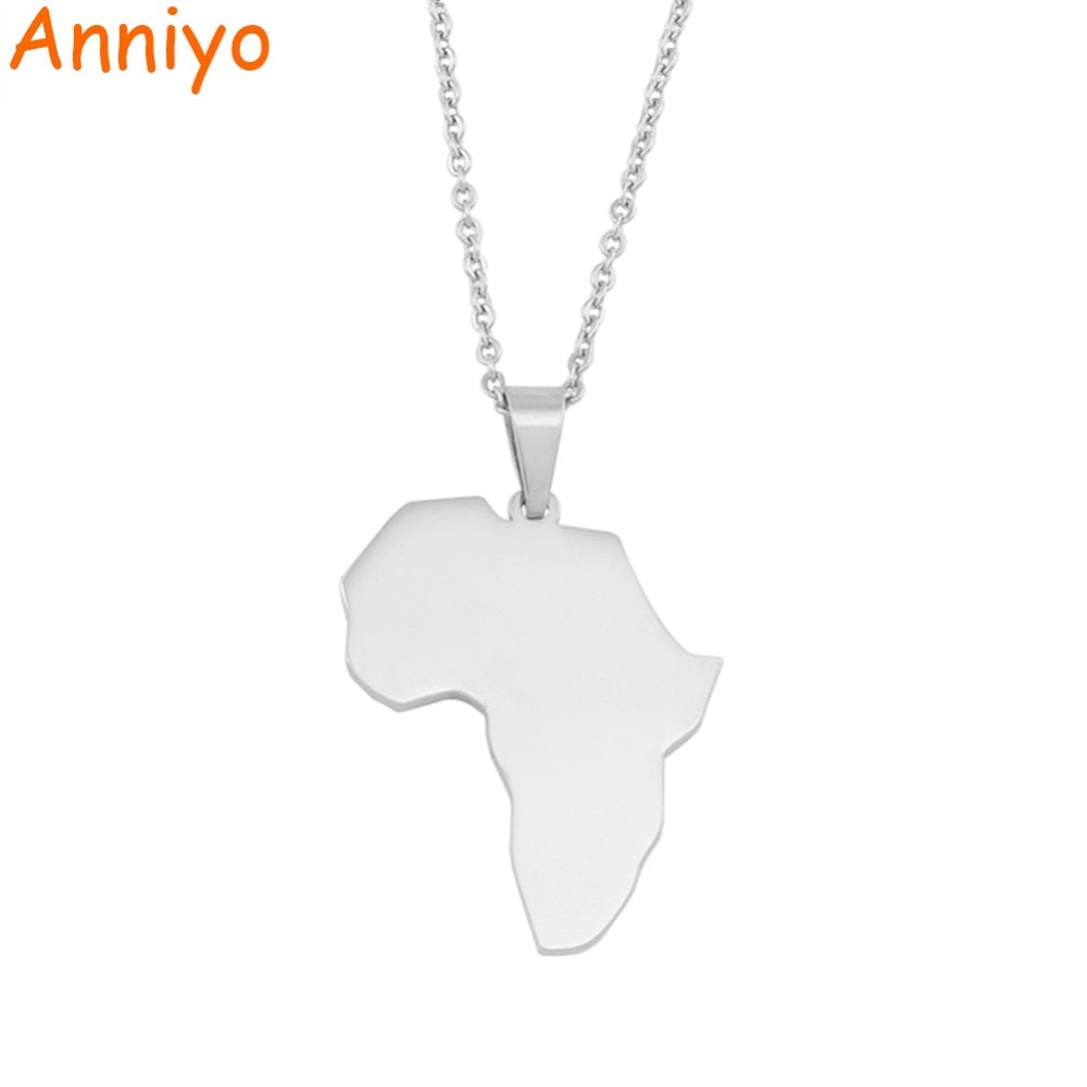 Africa Map Pendant Necklace Silver Polishing Stainless Steel Jewelry Brand Fashion Jewelry African