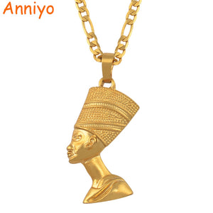 Anniyo Egyptian Queen Nefertiti Pendant Necklaces for Women Men Jewelry Gold Color Wholesale Jewellery African Gift #163506