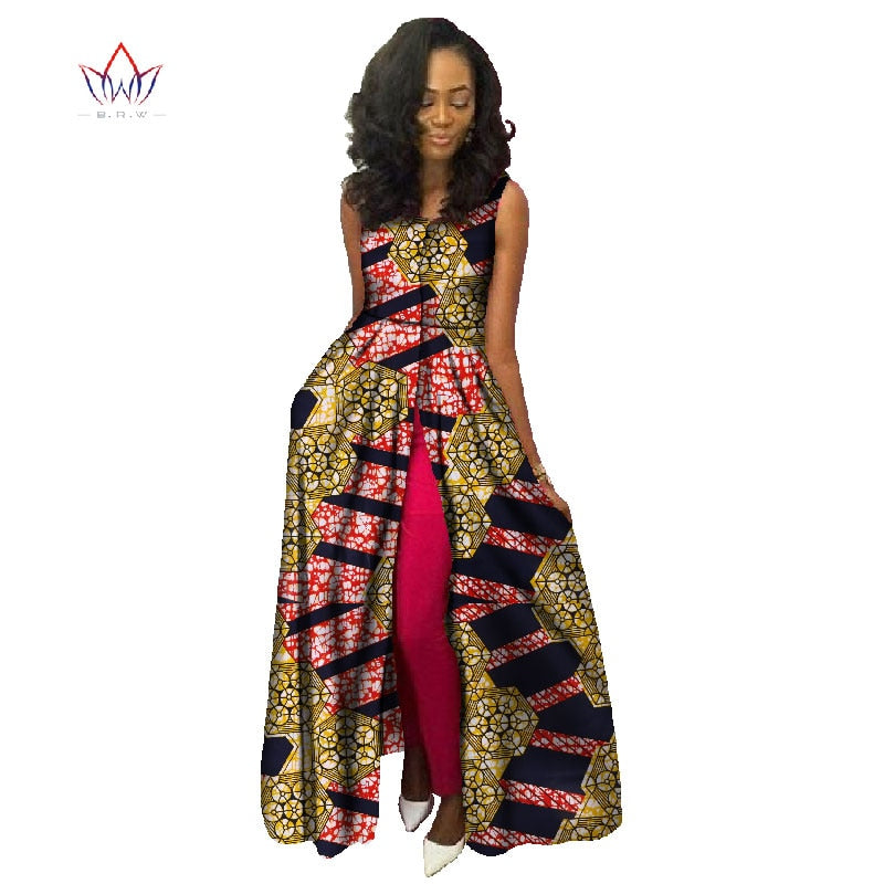 Dashiki robe wax africain 2019 cotton dress Sleeveness african bazin rich for women ladies african dresses none long dress WY745