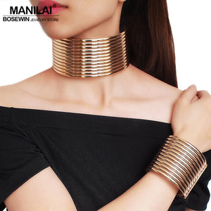 MANILAI Vintage Statement Choker Necklace Sets Women African Jewelry Chunky Leather Collar Necklace Bracelets Set Adjustable