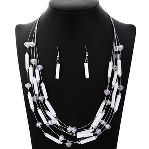 New Fashion Wedding Sets African Beads Coral Jewelry Set For Woman Silver Color Multi Layers Necklace Earring Set