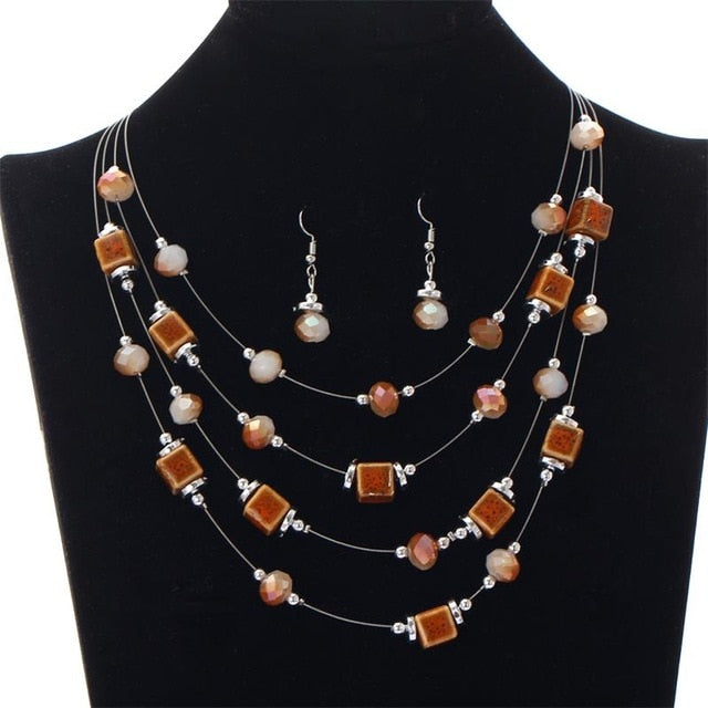 Vintage Colors African Beads Jewelry Set For Women Ceramic Square Beads Crystal Steel Wire Choker Necklace +Drop Earring Sets