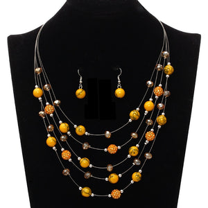 African Beads Wedding Jewelry Sets For Women Multi-layers Crystal Beads Statement Collier Earrings Sets Femme Bijoux