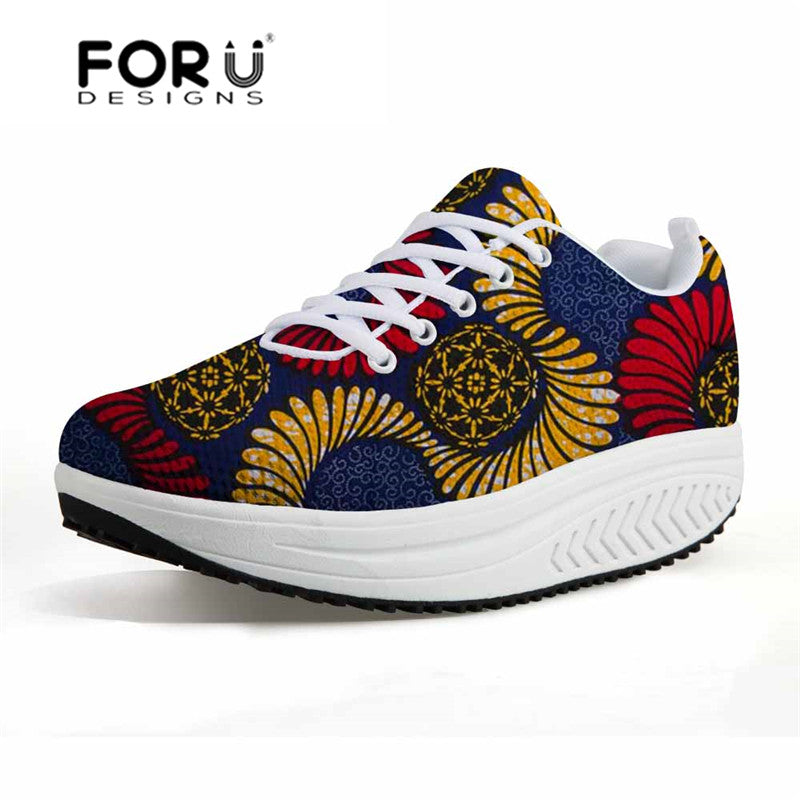 FORUDESIGNS Vintage African Traditional Printed Women Sneakers Platform Casual Swing Shoes for Female Mesh Tenis Feminino Wedge