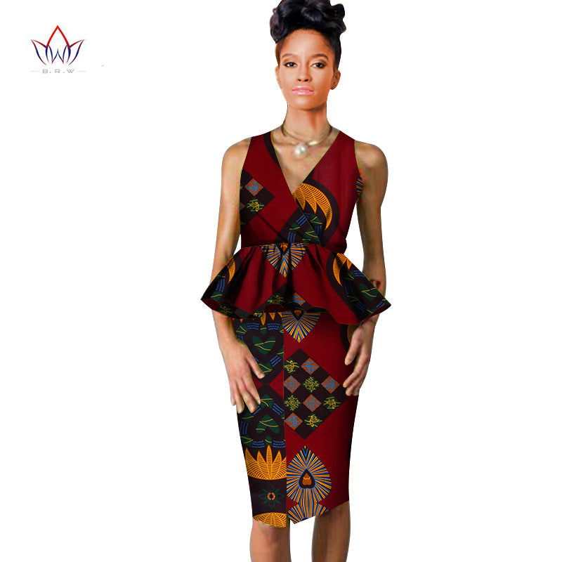 african dresses for women Dashiki v-neck skirt set sexy & club Bazin Riche africa print knee-length dress cotton 6xl BRW WY804