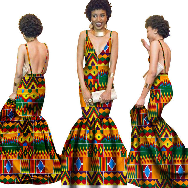 Summer Women  traditional  dresses Brand Custom Clothing Africa Wax Dashiki Slim Cut Sexy Dress