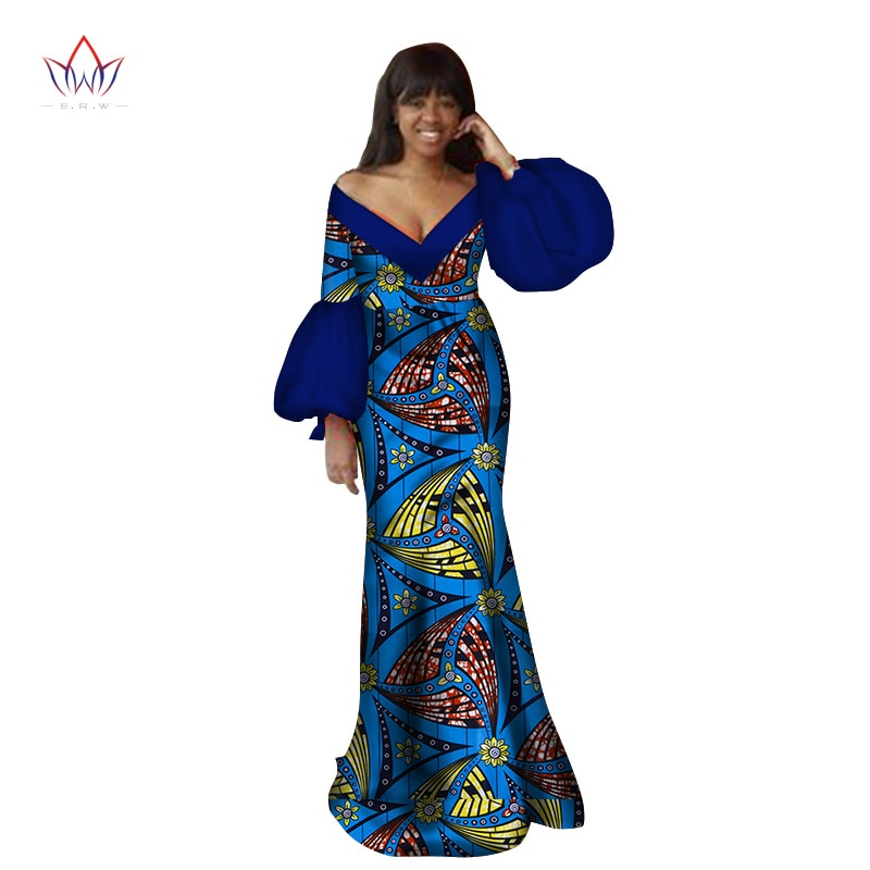 2019 Autumn traditional african clothing dashiki  floor-length african v-neck dresses for women full sleeve none 6xl BRW WY2368