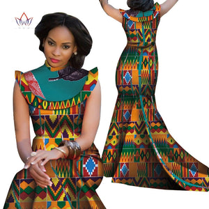 Print Splice Stand Neck Mermaid African Dashiki  Dress