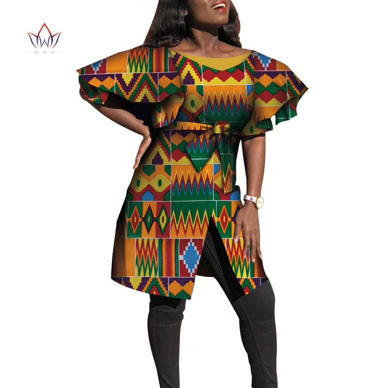 Dashiki African Dresses for Women Bazin Riche Big Ruffle Sleeve African Dresses Ankara Fashion Elegant African Clothing wy4415