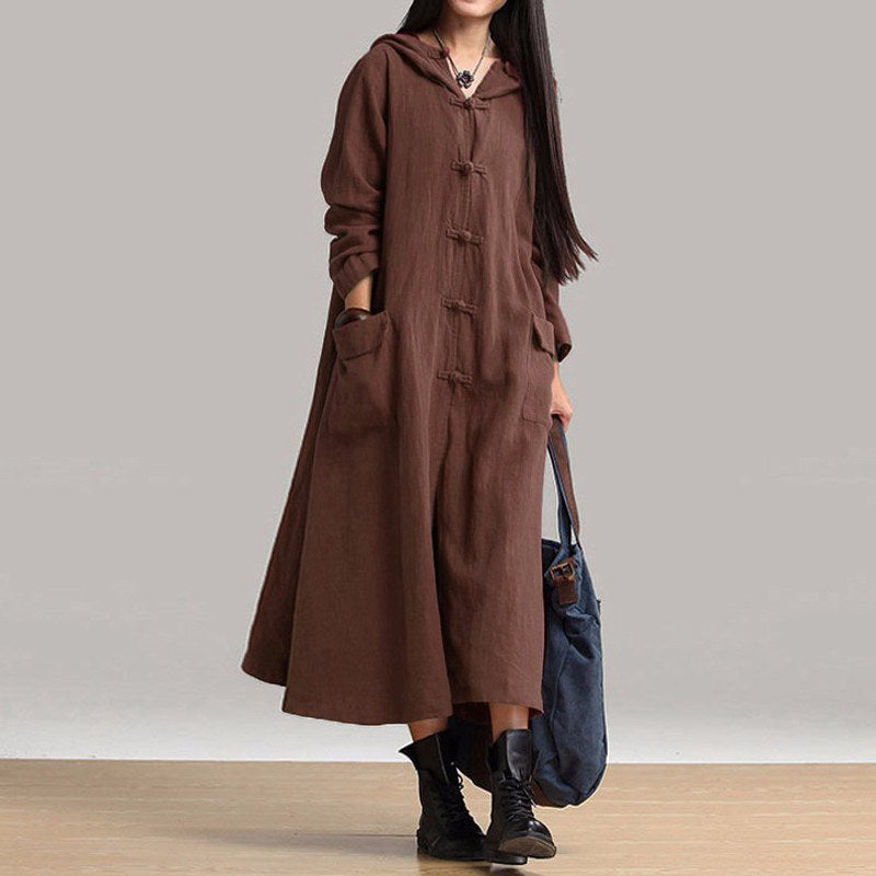 ZANZEA Autumn Winter Women Dress New 2018 Vintage Casual Loose Maxi Long Dress Ladies V Neck Long Sleeve Hooded Cotton Vestidos