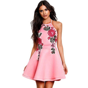 Sexy backless padded print summer dress women Floral Printied Casual Sleeveless Party Evening vestidos Short Dress