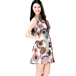 Summer Vintage Party Evenning Mini Dress Sunflower Dress for Lady Fashion Club Dress #LSN