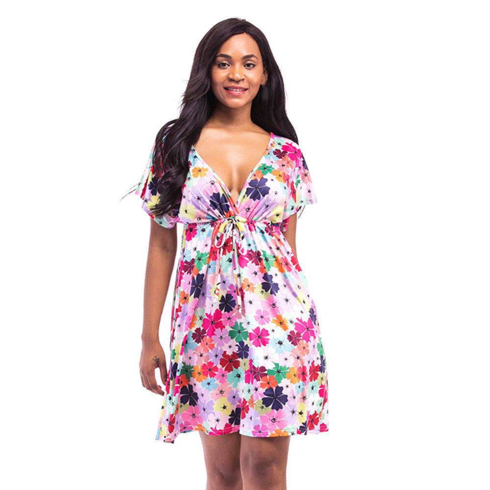 Womens Fashion Short Sleeve Flower Print V Neck Backless Sashes Sexy Casual Loose Dress robe femme vestidos summer wrap dress