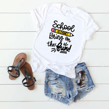 Jean shorts, sandals and white t-shirt with School is Done Bring on the Fun Digital Design