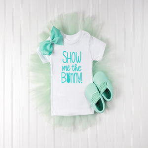 Blue Tutu with Bow and Baby Moccs with White T shirt that has the Show Me the Bunny Design