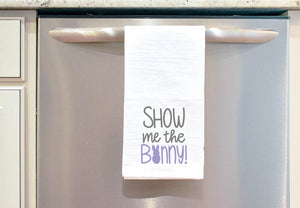 Show Me the Bunny Cut File on a Tea Towel hanging on the Dishwasher
