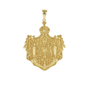 Made in Hawaii - Hawaiian Coat of Arms Pendant - 14K Yellow Gold - Hawaiian Jewelry Boutique