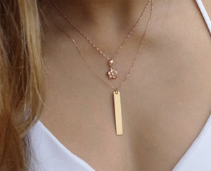Vertical Bar Necklace - 14K Rose Gold - Hawaiian Jewelry Boutique