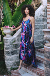HAMEC Bermuda Maxi Long dress in Floral Tropical Print in Blue, Purple and Pink Colors
