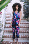 HAMEC Bermuda Jumpsuit with Tie Back in Floral Tropical Print in Blue, Purple and Pink Colors