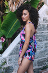 HAMEC Bermuda Tie Back Romper in Floral Tropical Print in Blue, Purple and Pink Colors